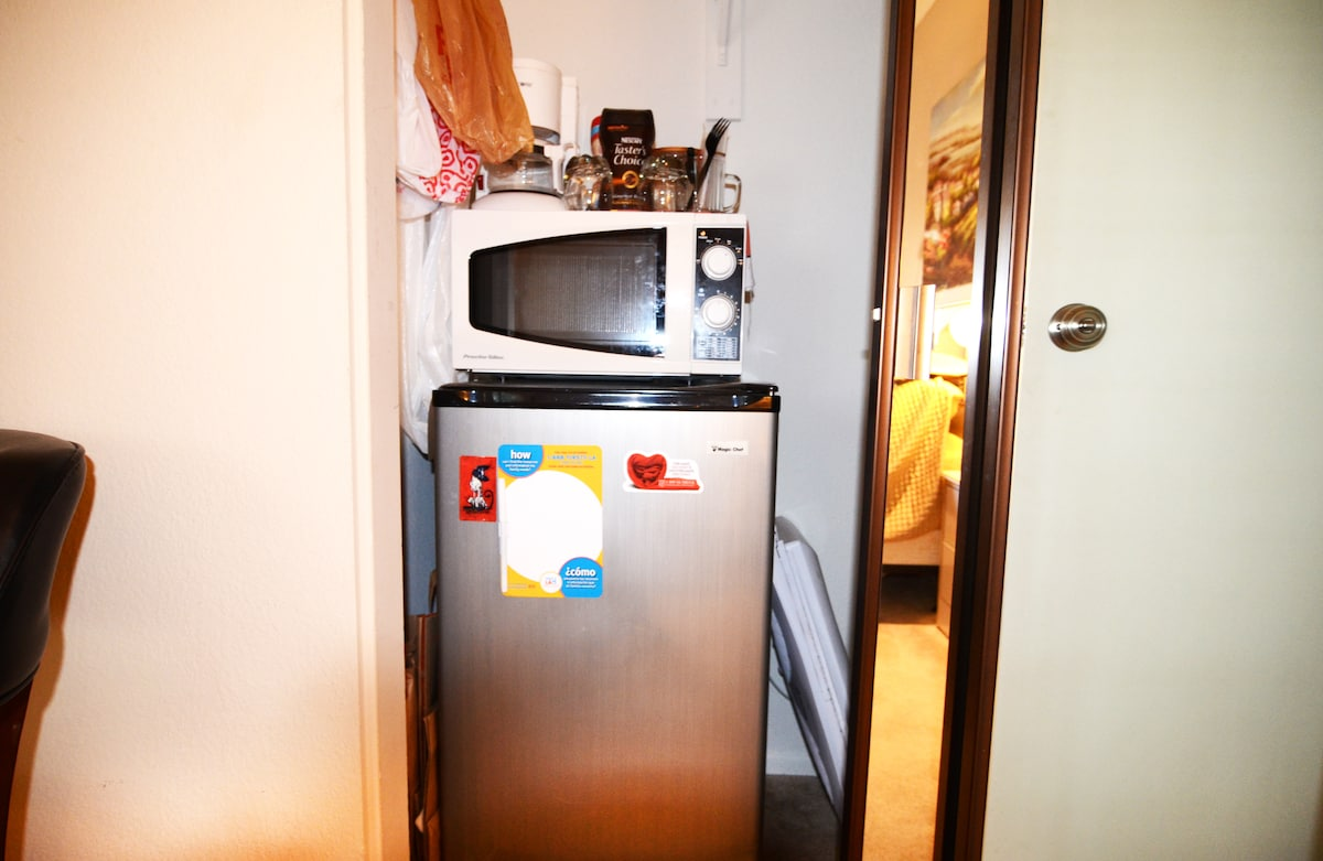 Small fridge, microwave, Toaster oven, Microwave and electric pot included inside your room.