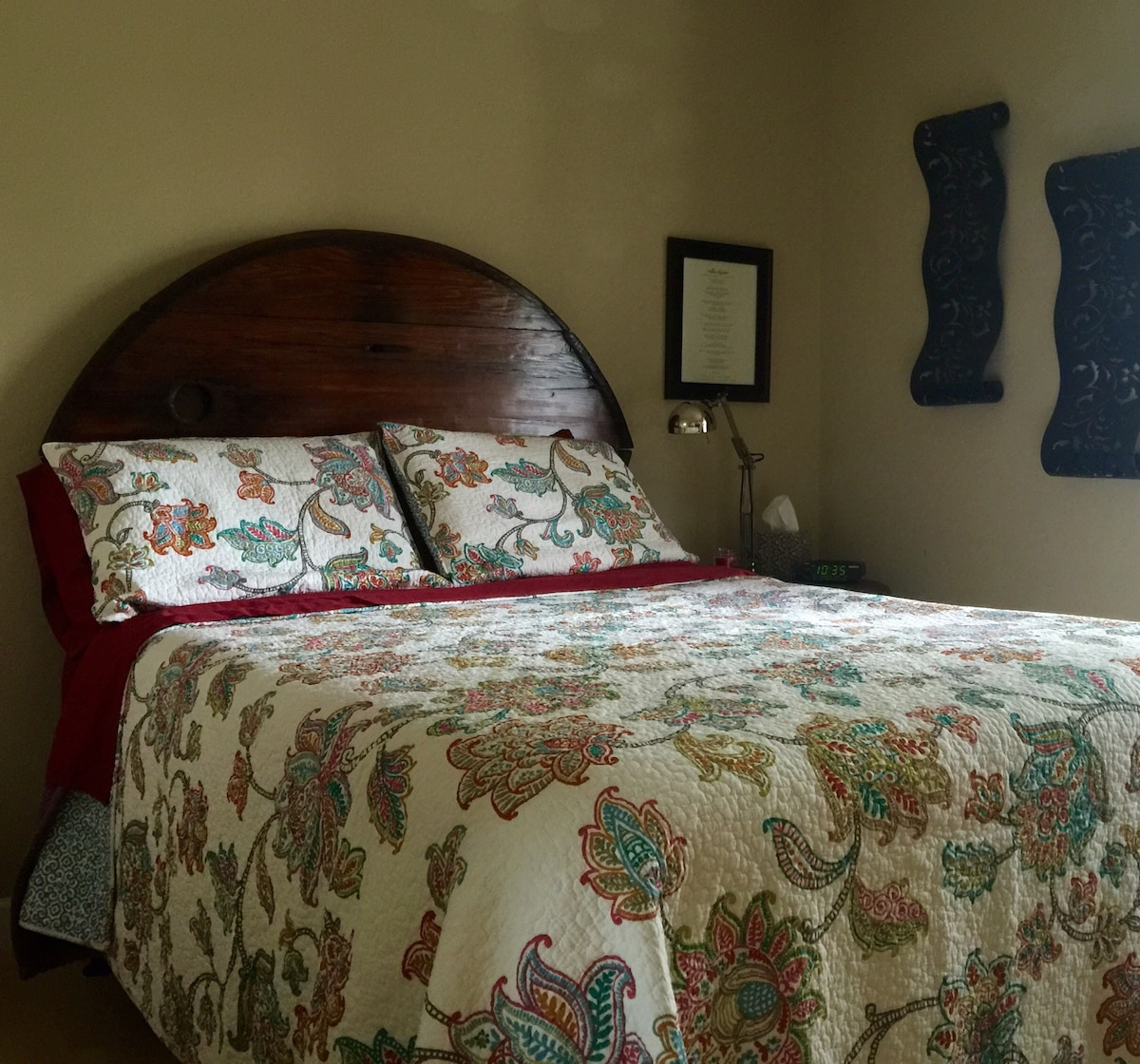 Your room has a full sized memory foam mattress. The headboard was hand crafted from refurbished solid redwood. The planks were the bottoms of fermentation tanks first used in 1940s.