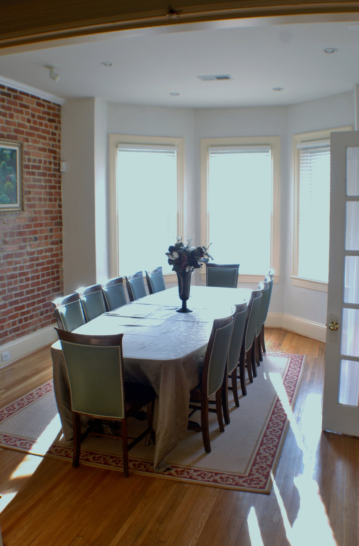 View of the conference room/dining rm table