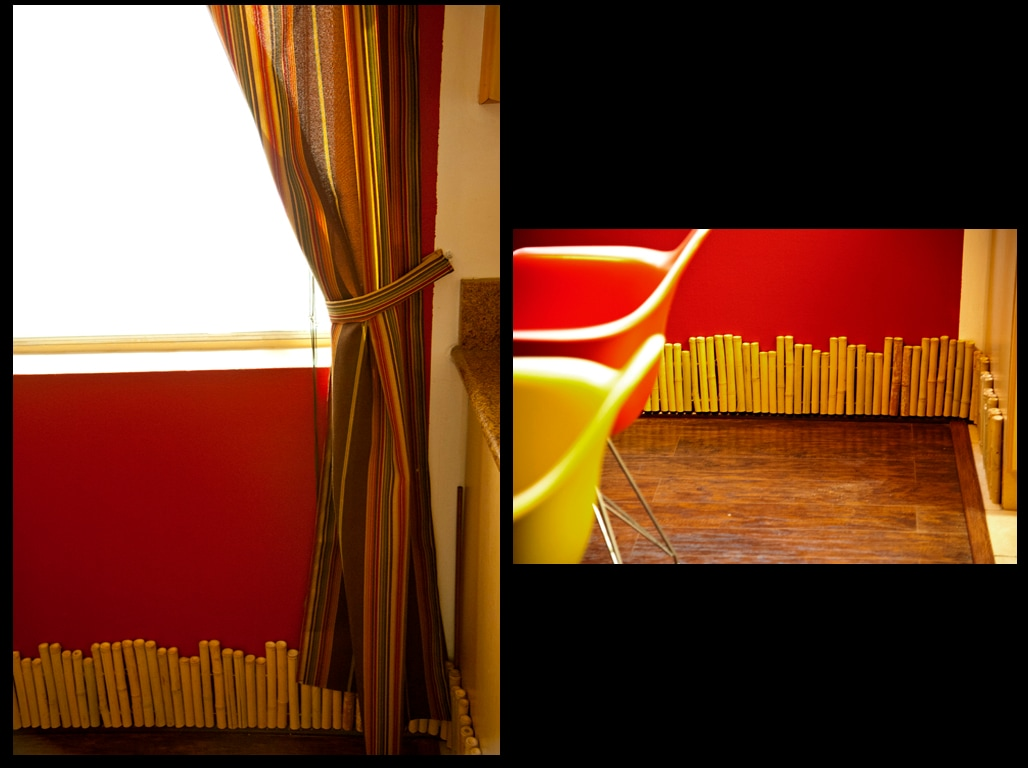 Bamboo baseboards and stripped curtains