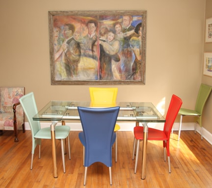 The furnishings in the house are eclectic and colorful.