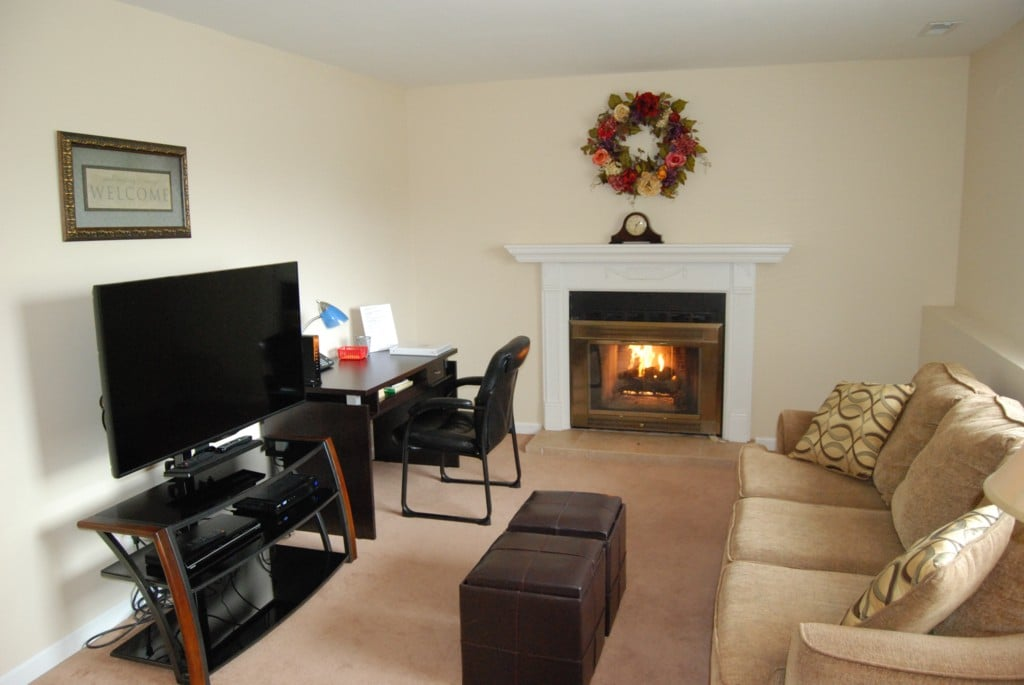 Lower level living room has flat screen TV, DVR, DVD player and wireless internet