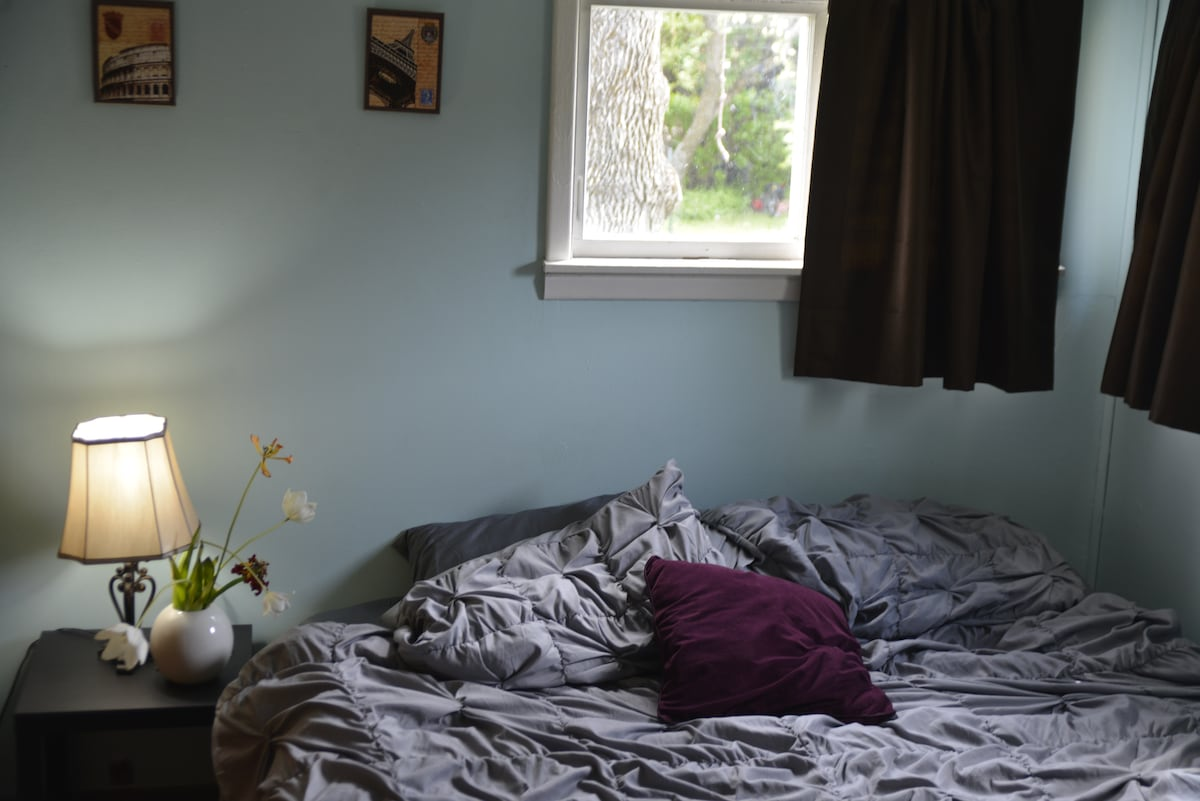 King Size bed and comforter. Plus, a lovely view into the back yard and side garden