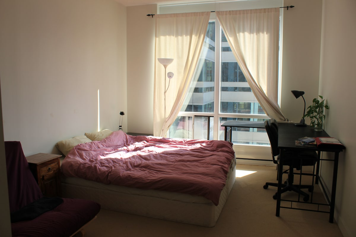 Master Bedroom, great light, lots of space, large desk to work on, futon can be used as a spare bed.