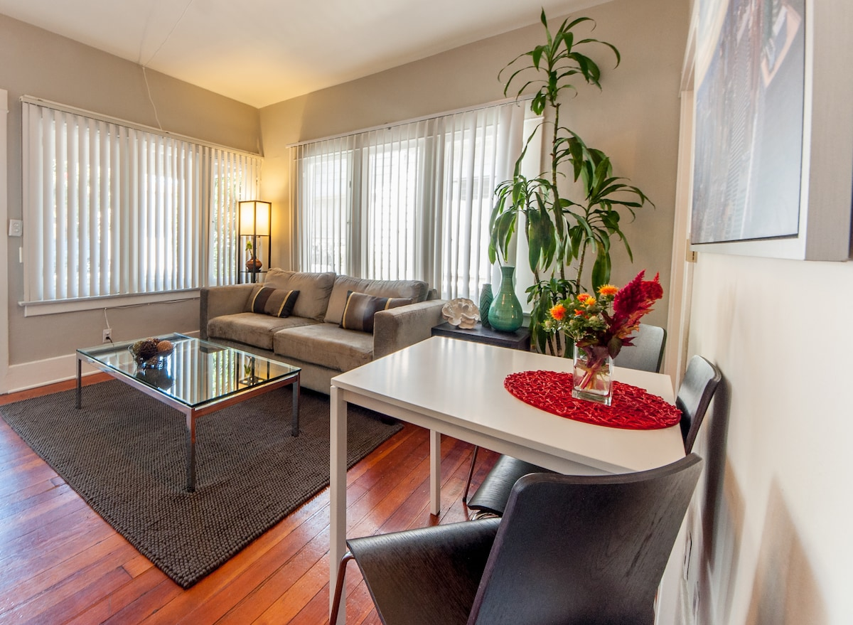 Lovely Living Room: with dining table (4 chairs total).