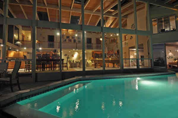 The pool is in front of the main house, but is available for guest's enjoyment from 9 am -11 pm