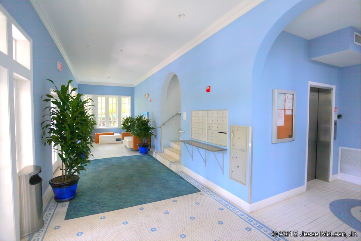 Our entry lobby, and an elevator on both sides for easy access to our 3rd floor condo.