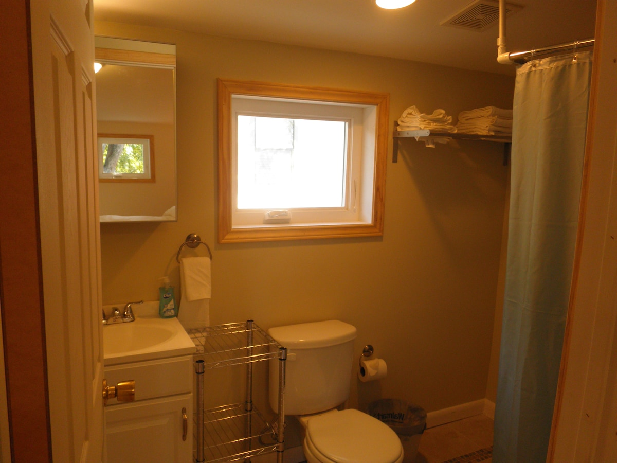 Stand up shower, plenty of nice towels and vanity with mirror
