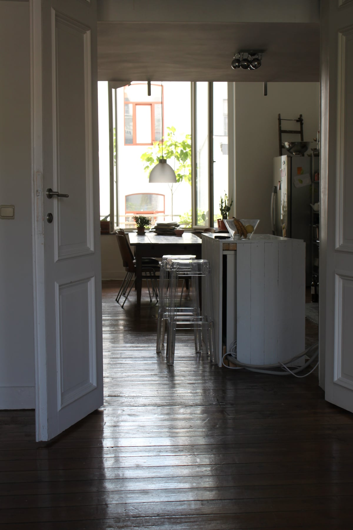the kitchen and antique dinner table