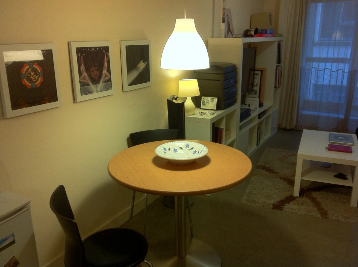 Dining table for meals made in the apartment which has full cooking facilities: electric cooker oven and microwave.
