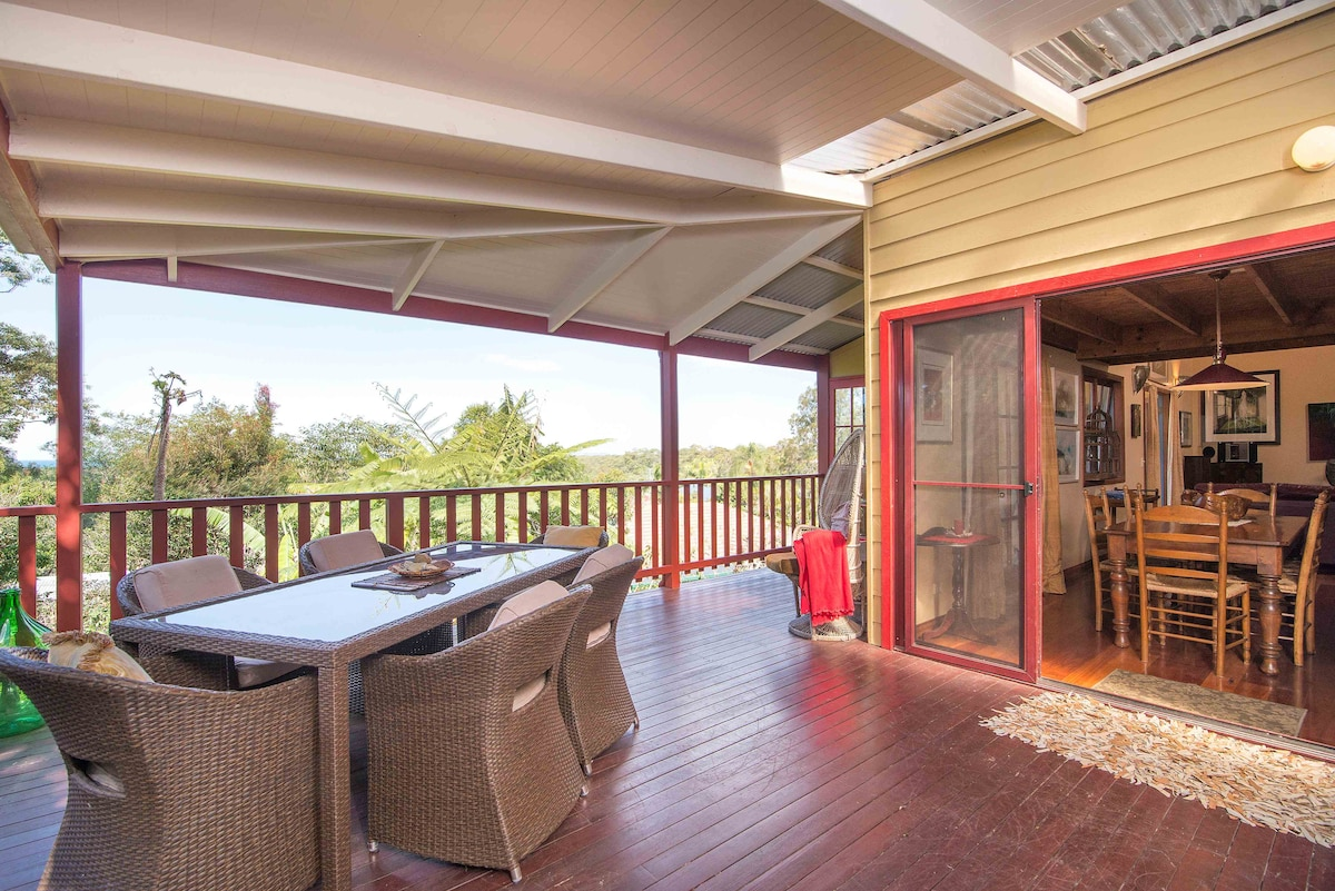 The deck overlooking theocean,Byron Bay and the nature reserve
