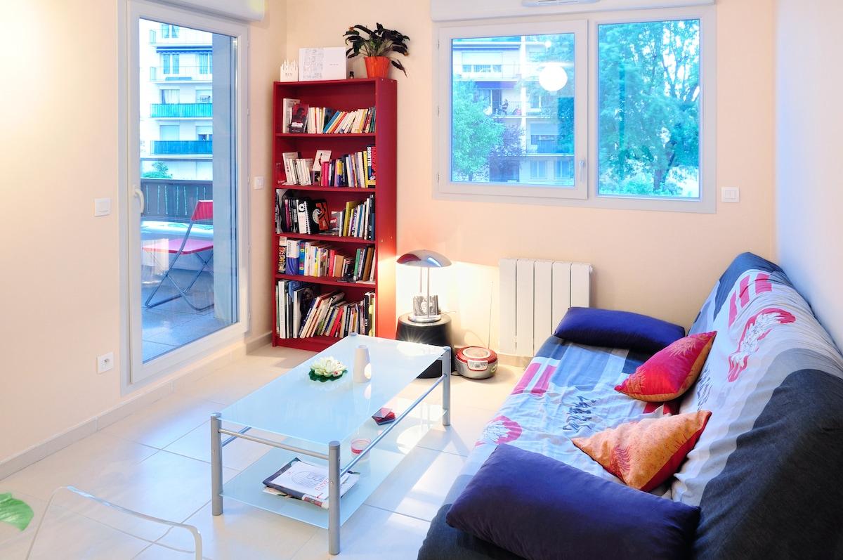 THE LIVING ROOM - Sofa, shelves, tables...