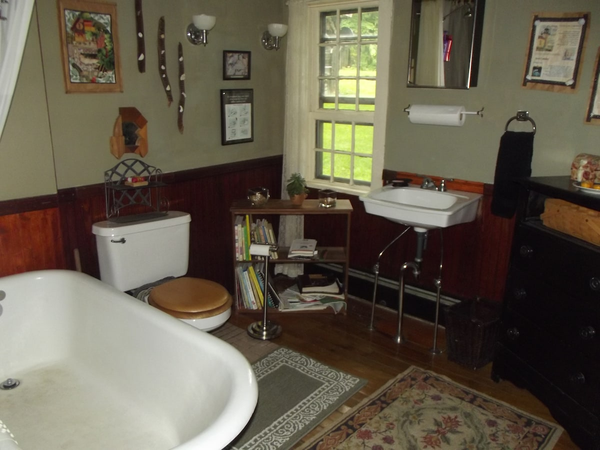 Here is the other shared bathroom. The books discribe hikes you can take in Vermont and New Hampshire.