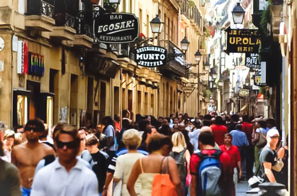 Calle Fermín Calbetón, full of restaurants, behind our street