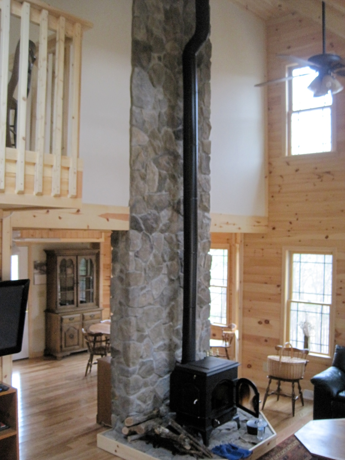 Woodstove and Stone Wall, Great Room, Dining Area