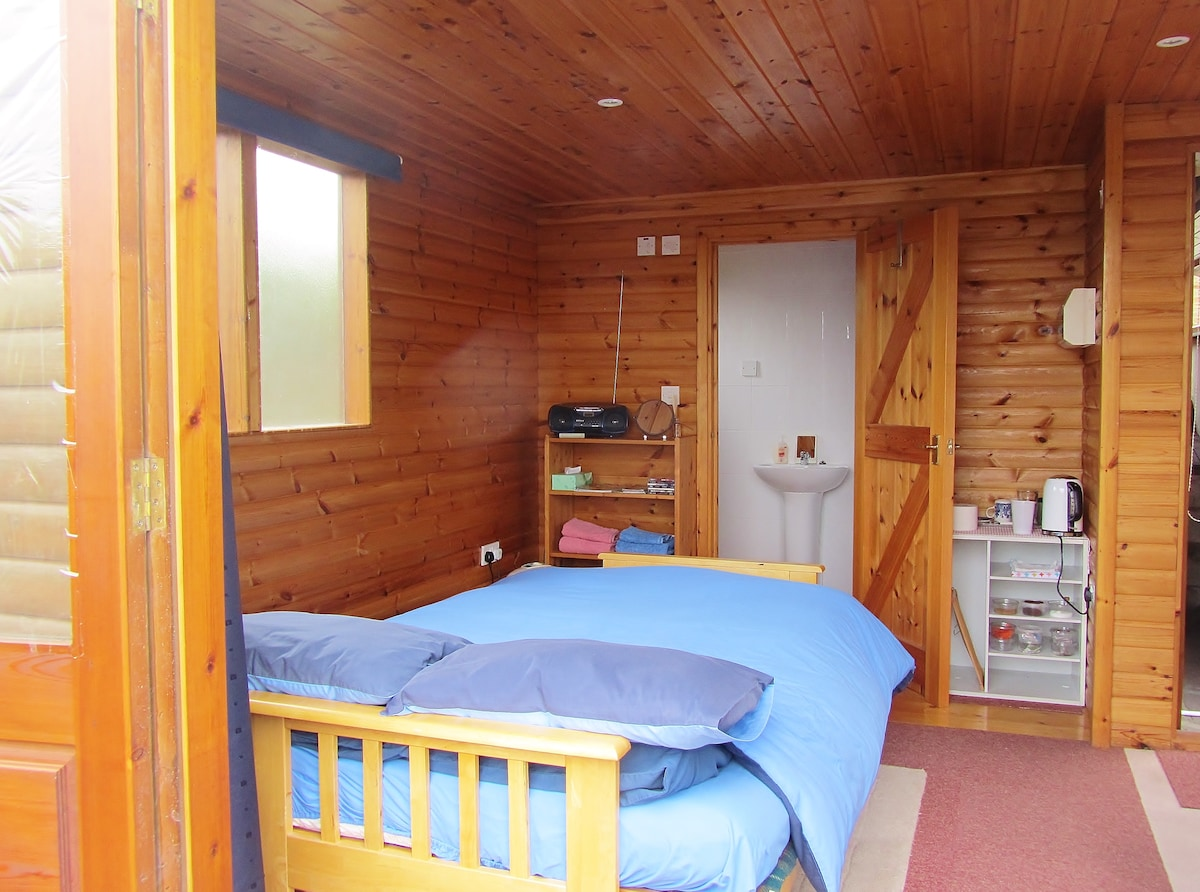 Looking into the cabin and shower room