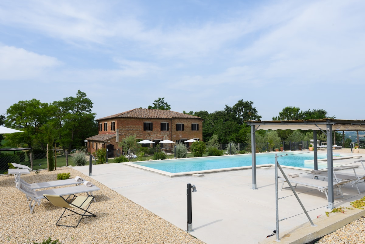 The house and the pool.