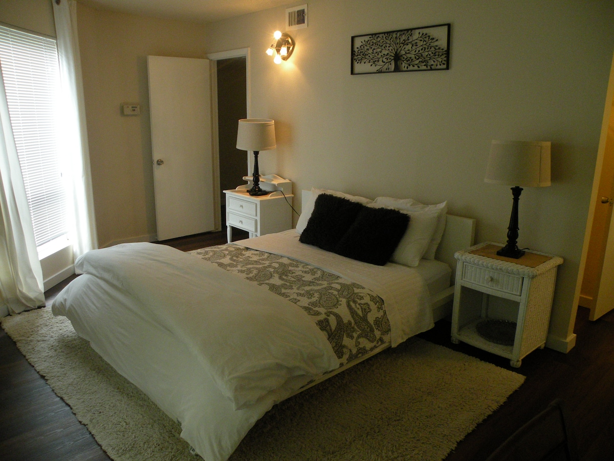 Spacious master bedroom outfitted with queen bed