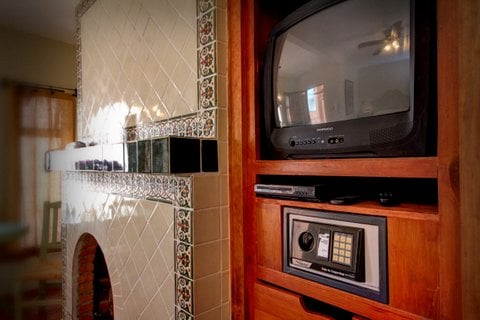 Cable TV with DVD player and built-in wall safe