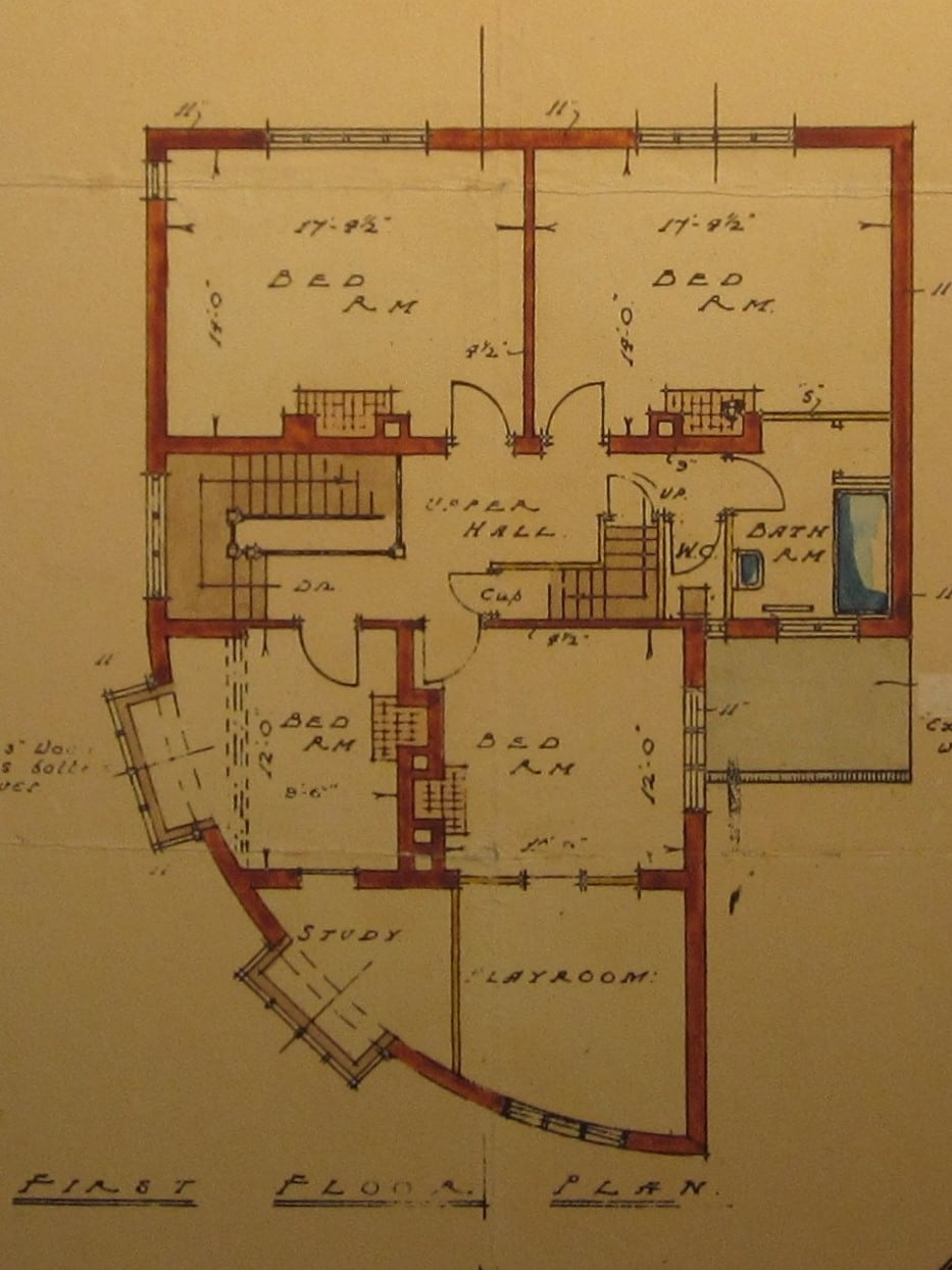 """Original plan of upstairs (slightly altered): this room is lower middle """"Bed Rm and Playroom""""."""