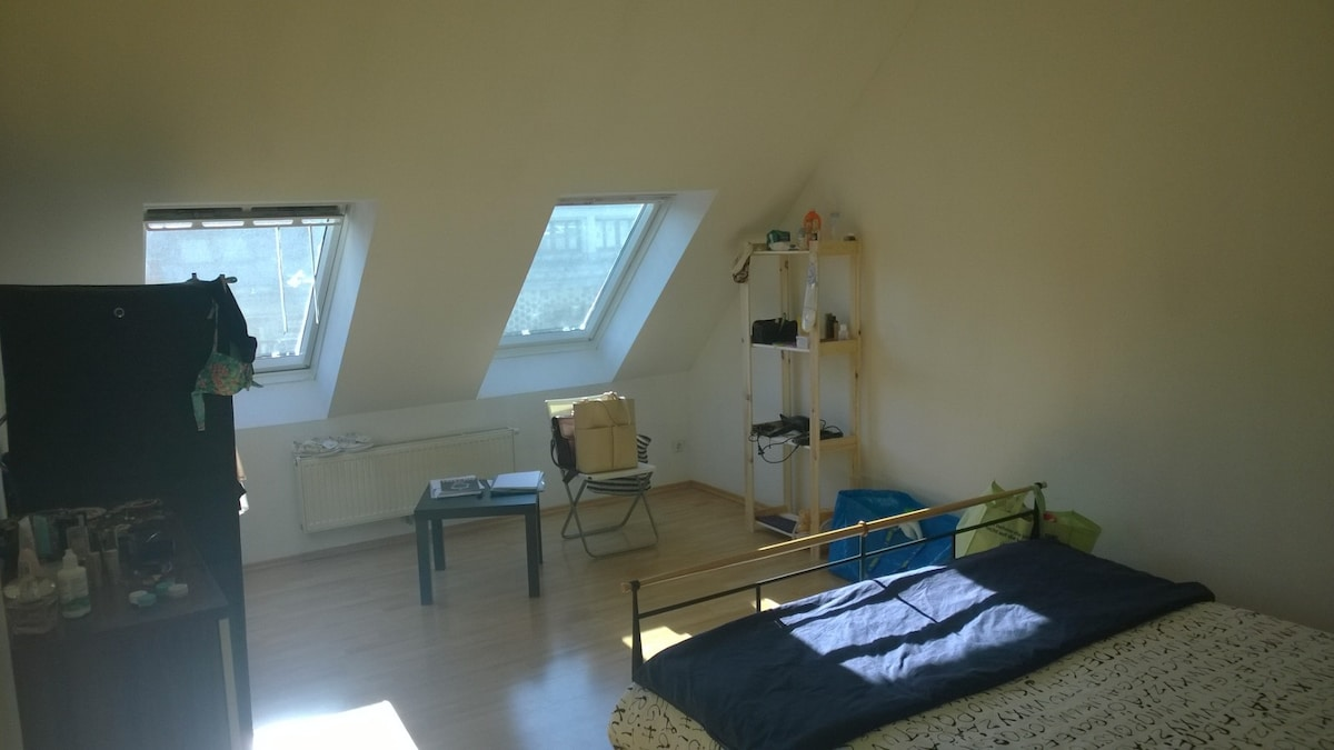 20 m² bright and quiet loft-room.