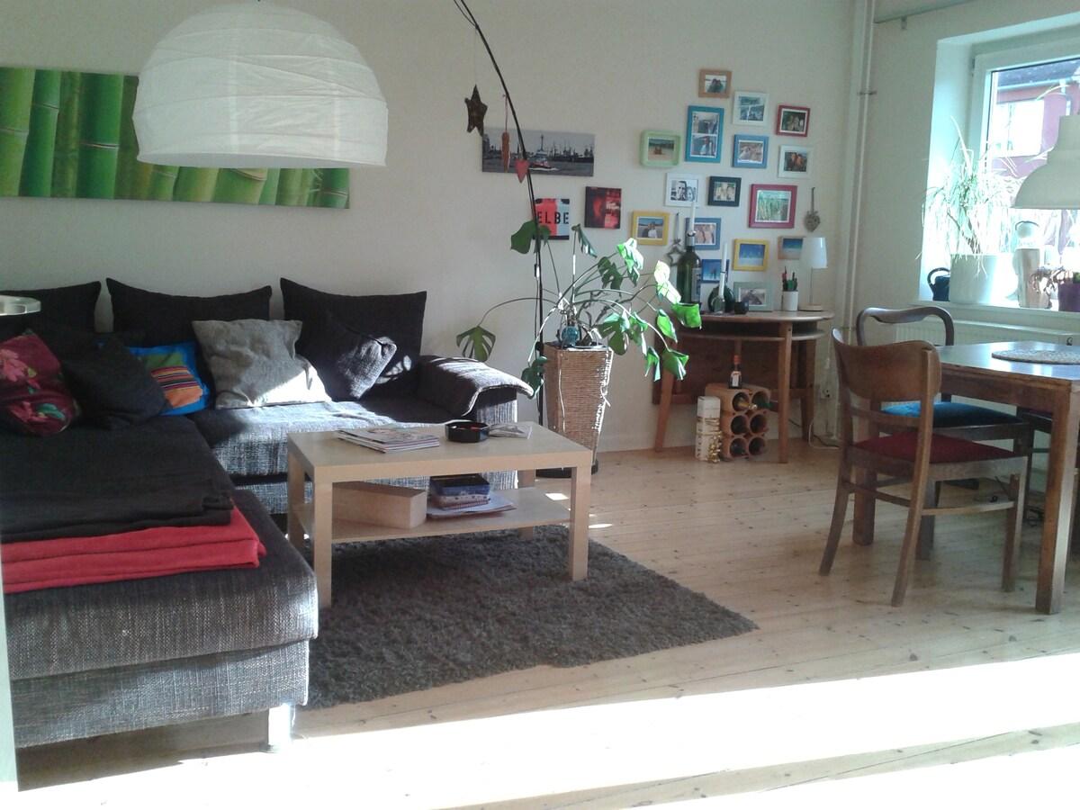 Das Wohnzimmer mit Schlafcouch und Esstisch