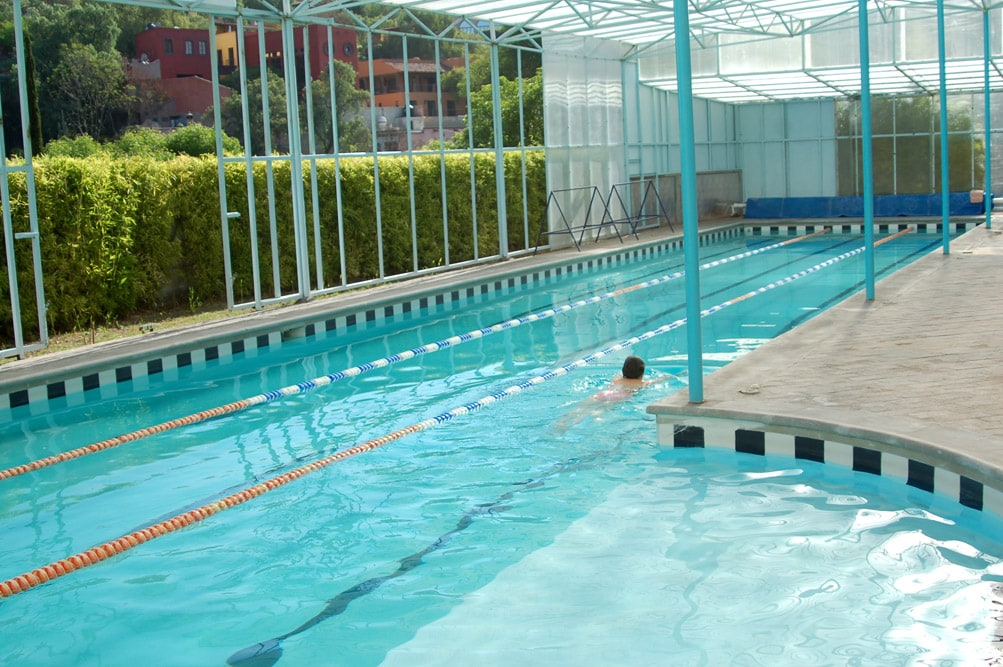 25-meter shared pool with adjacent work out room
