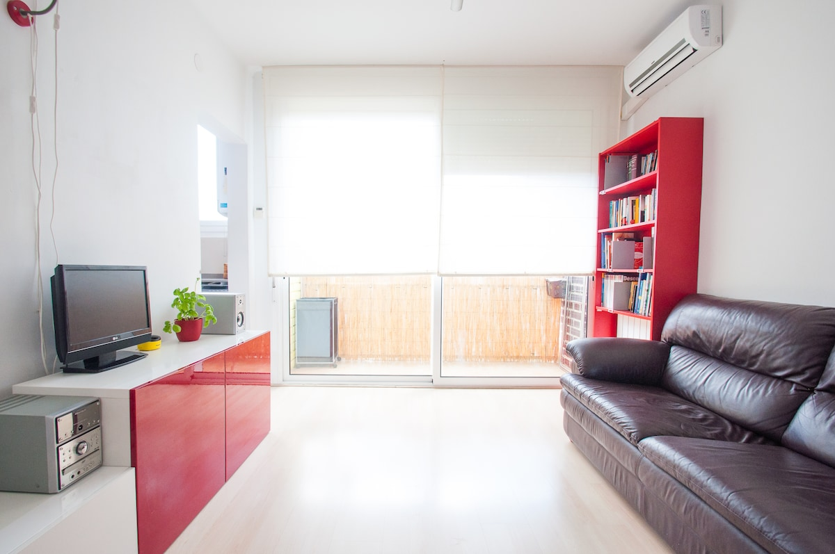 Living room equipped with cooling and heating