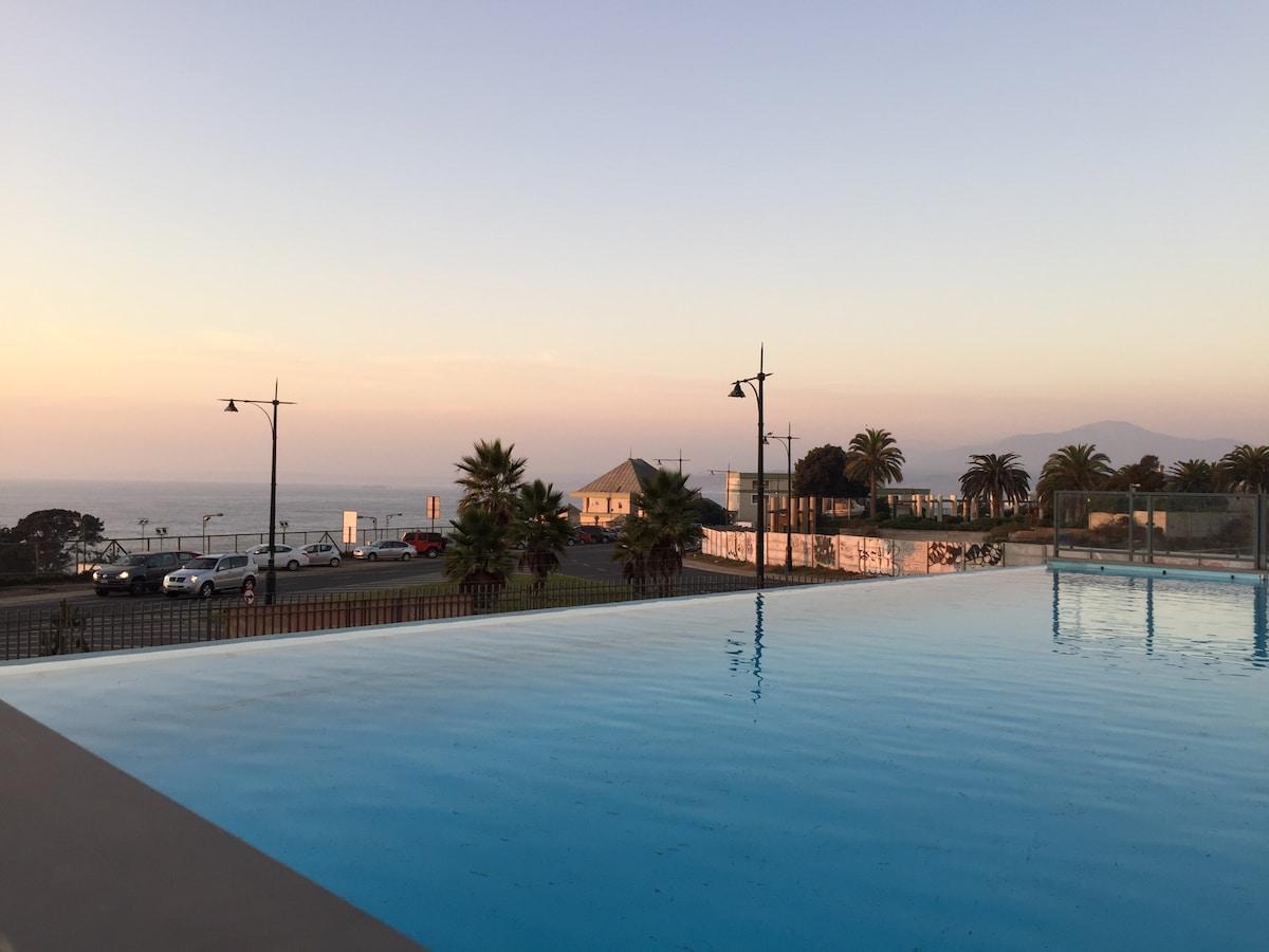 Depto  vista mar -piscina temperada
