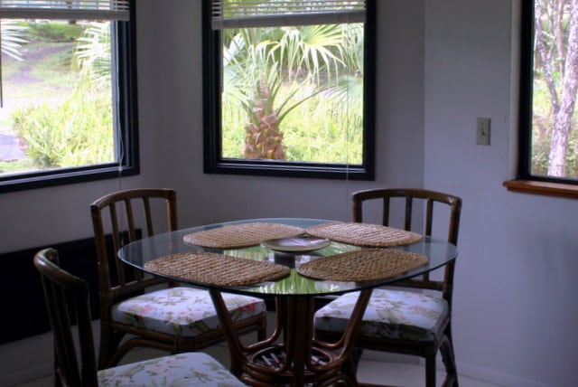 The dining area is in a bay window alcove