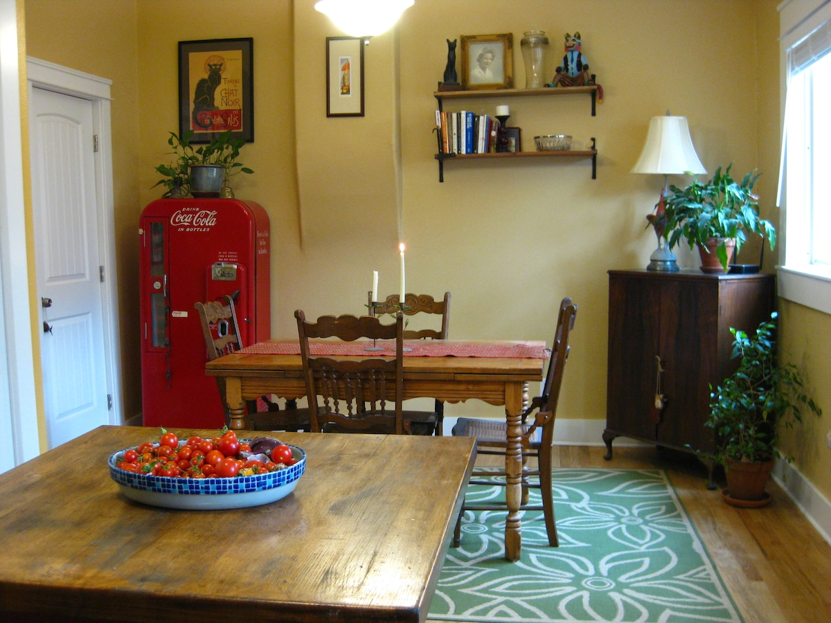 View of dining room from kitchen, my favorite part of the house.