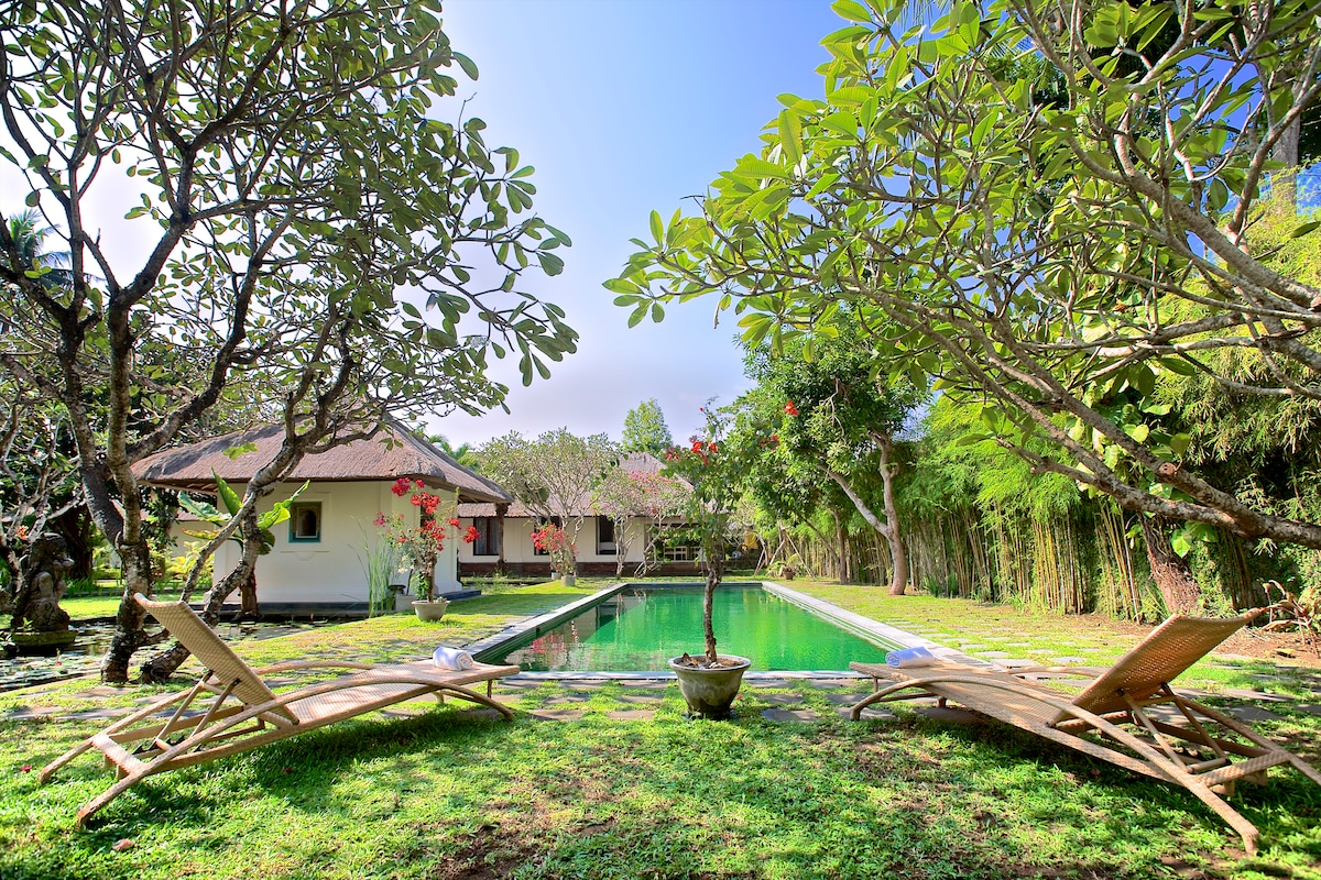 Pool, classic cabana, lotus-pond in left foreground, your Balinese villa terrace in back.