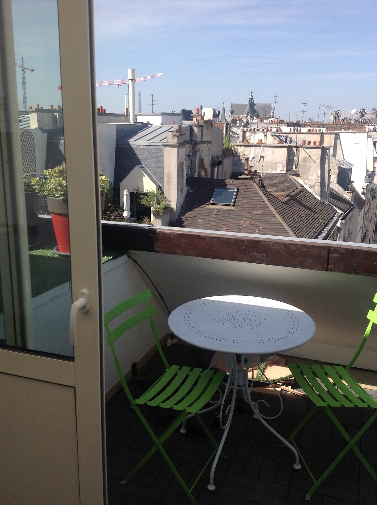Terrace with panoramic views of Eiffel Tower and Sacre Coeur