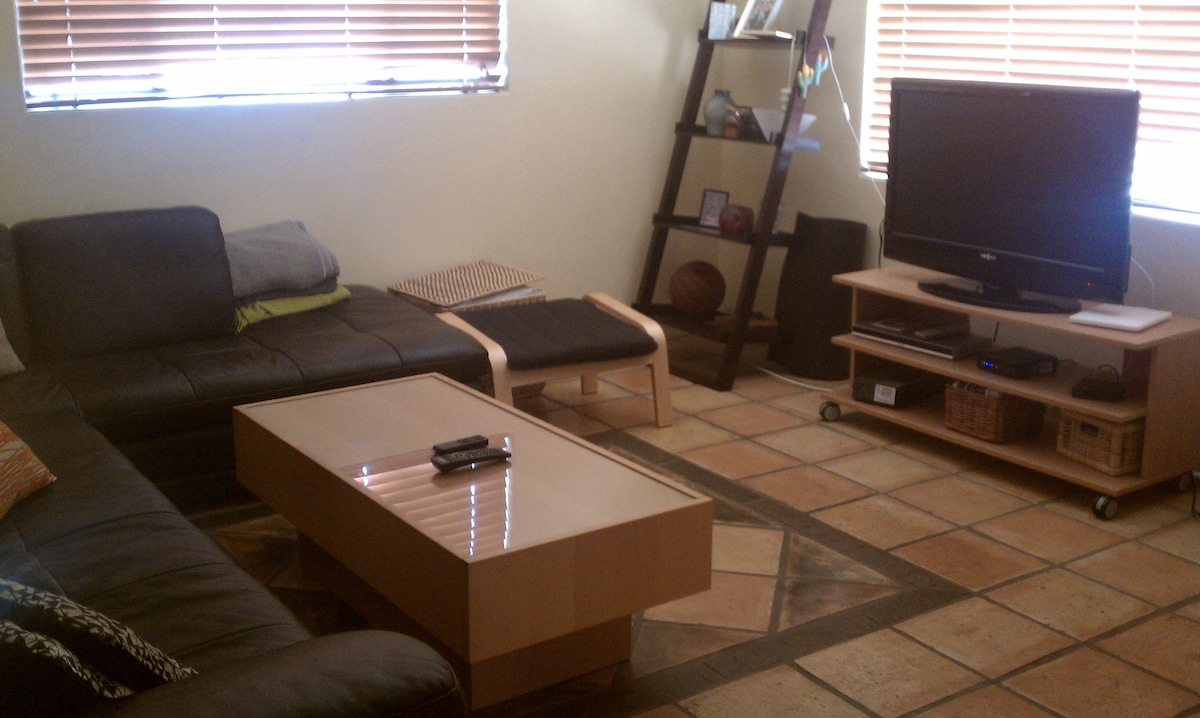 Comfy living room with huluplus and netflix.
