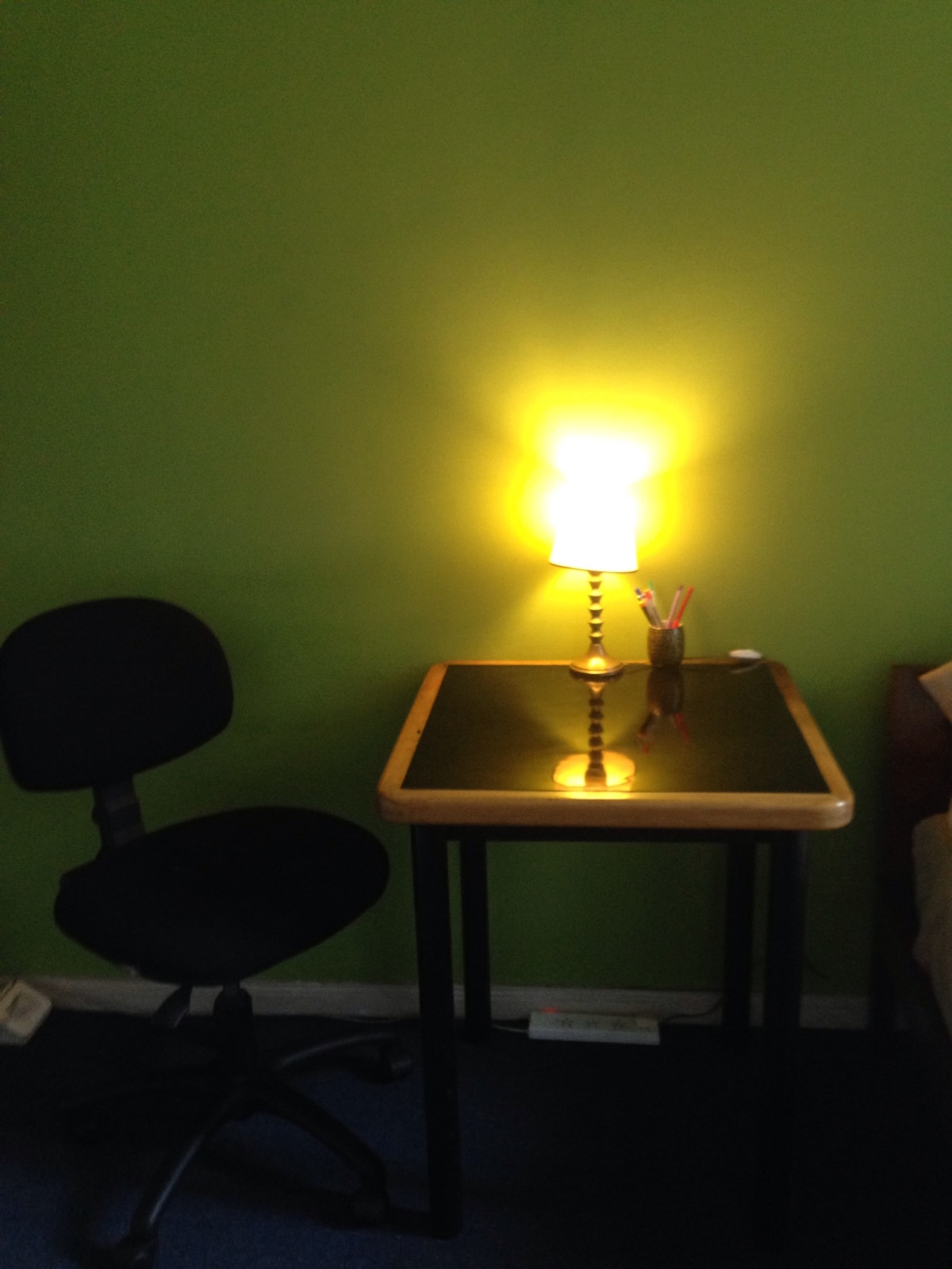 It has a table to use like a desk . I keep the office chair because people stay on the computer for long periods and is better for your body, specially if you study or work online:)