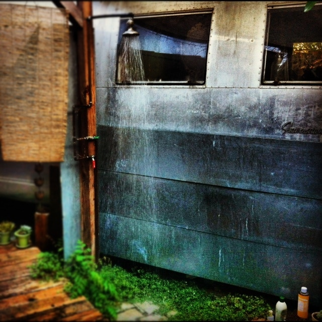 Our outdoor shower. Thanks again to Marc Silver for the photo.