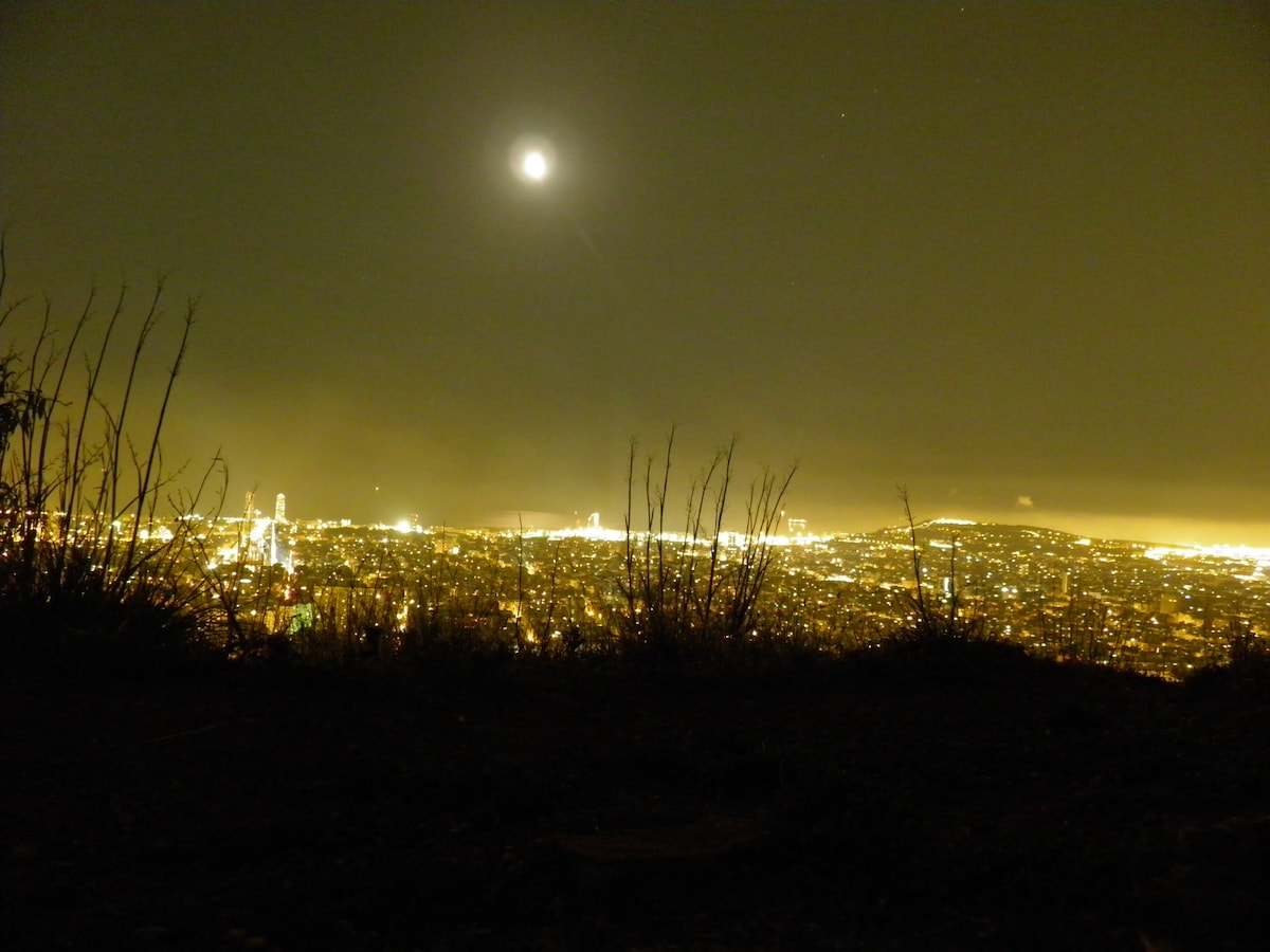 the city with full moon
