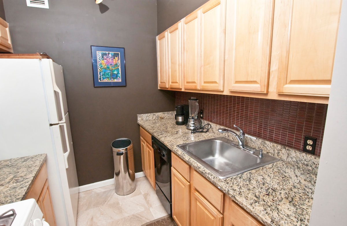 Galley style kitchen with brand new stove (April 2015) dishwasher and large refrigerator