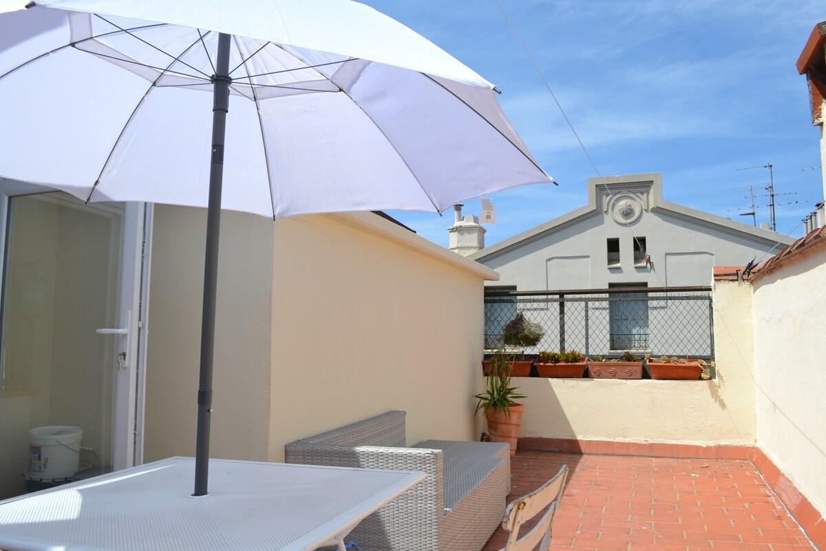 Joli studio avec terrasse Fnac,CV