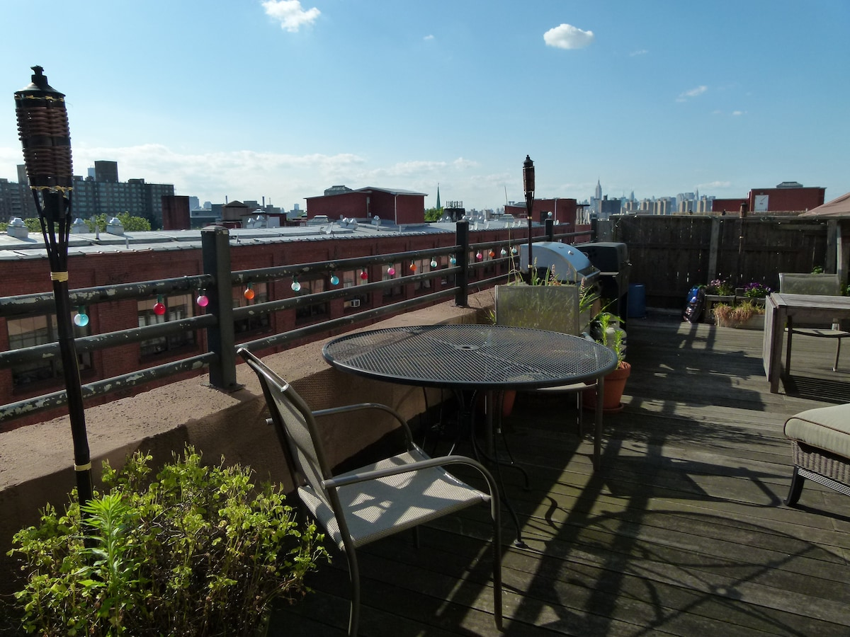 Open terrace with grill, fresh air and a great view of Manhattan and Brooklyn.