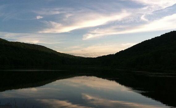 Sunset reflection by lake