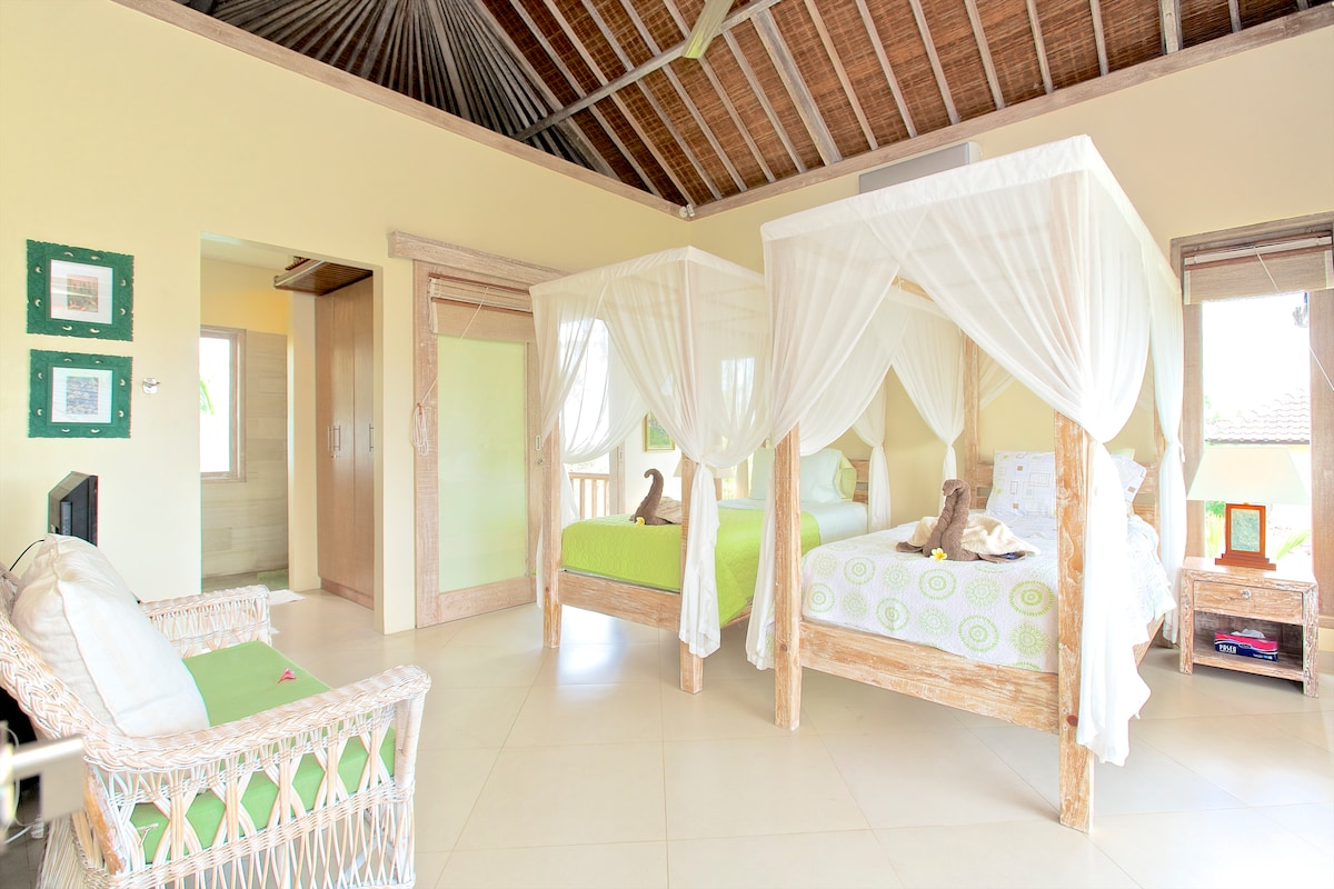 Twin Beds with Mosquito Nets, HIgh Quality Linen