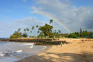 Short walk to Brenneckes Beach shown here and to Poipu Beach, which is adjacent