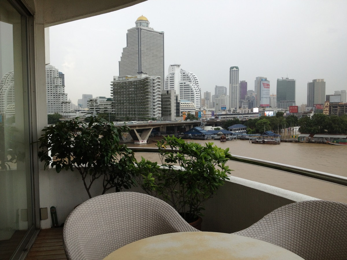 View from balcony. Building with  gold dome houses Sky Bar and Sirocco Restaurant
