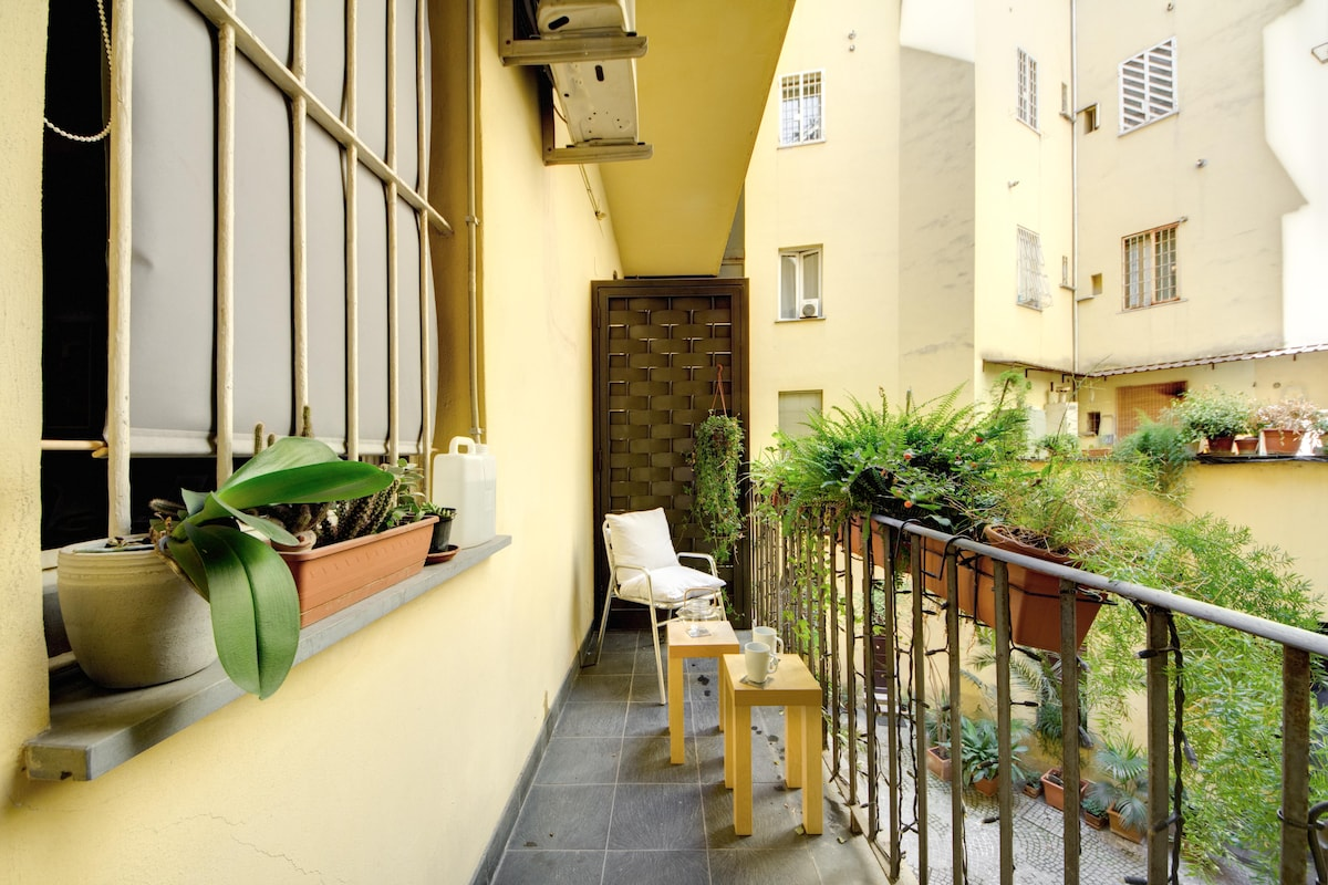 a little balcony overlooking the courtyard