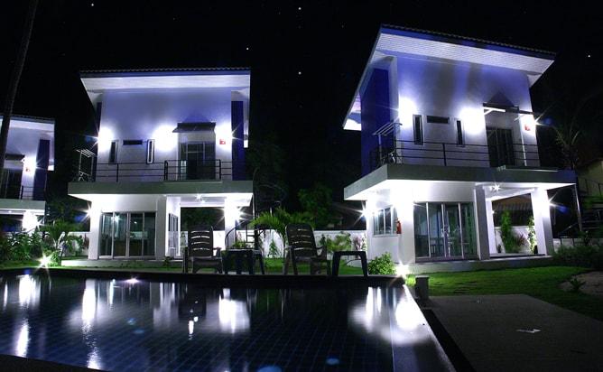 The villas at night