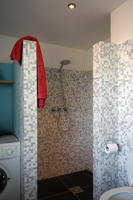 ... toilet, shower and washing machine.