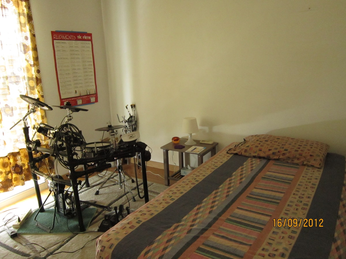 Spacious apartment, music room.