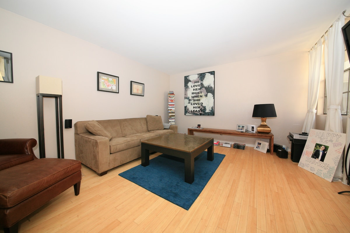 This amazingly comfortable, modern, and spacious condo awaits you!  Living Room.  Coziest sofa - folds out into a Queen Bed!