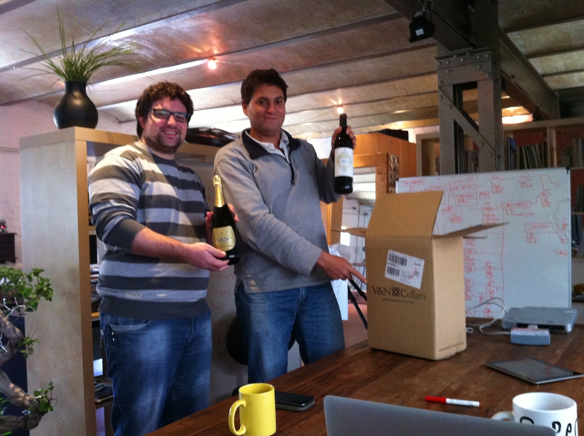Receiving V1.0 of our favourite neighbouring startup V&N Barcelona wines!!!!